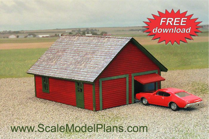 Cardstock structures for model railroads and dioramas for Free garage building plans download